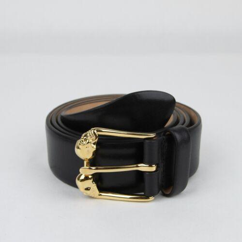 $595 Alexander McQueen Men/'s Black Leather Belt 80//32 338875 CQE0T 1000