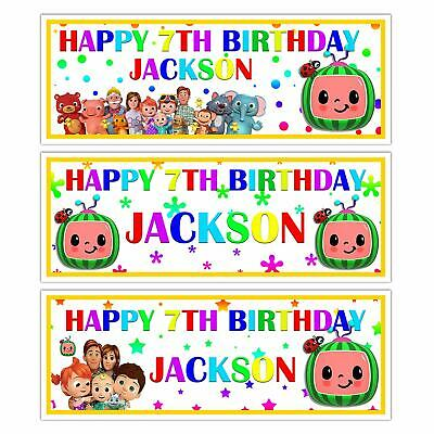 X 2 PERSONALISED KIDS COCOMELON BIRTHDAY PARTY BANNER PARTY WALL DECORATIONS