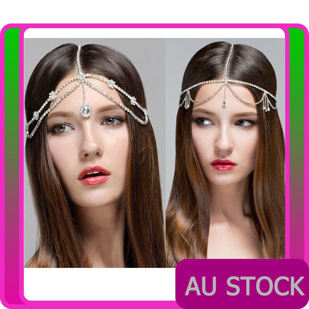 Ladies Bohemian Rhinestones Silver Head Chain Costume Accessory Headband