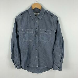 Country-Road-Womens-Button-Up-Shirt-Blouse-Size-2XS-Grey-Long-Sleeve-Collared