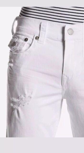 6117d587e True Religion  199 Mens Ricky White Cruiser Straight Stretch Jeans  MDA859N25D 32