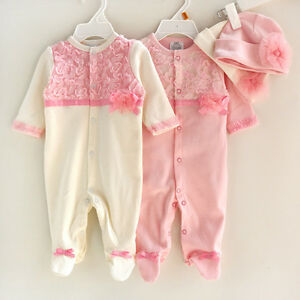 2Pcs Girl Baby Toddler Newborn Hat+Romper Bodysuit Jumpsuit Clothing Set Outfit
