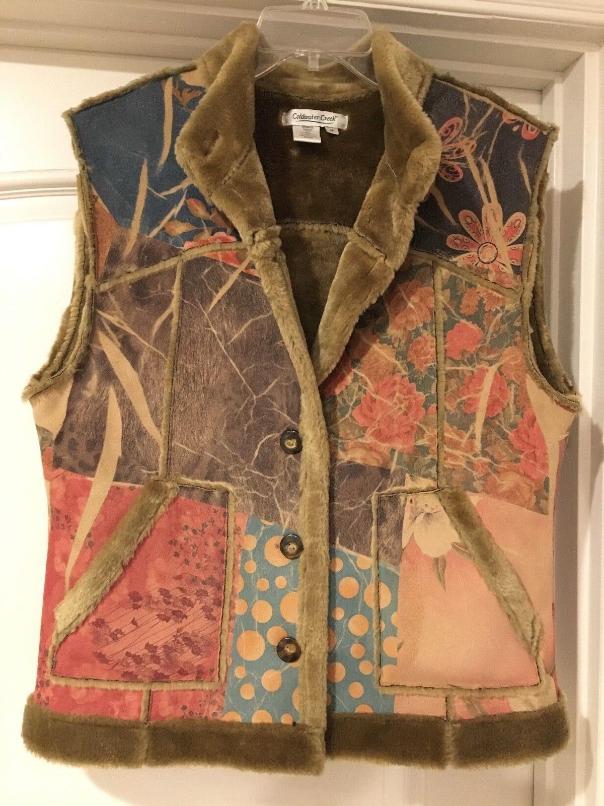NEW Boho size M Faux Fur Soft Suede like Plush Winter Warm Brown Print Vest