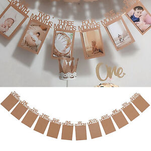 Chic 1 12 Months Baby 1st Birthday Photo Frame Shower Bunting Banner