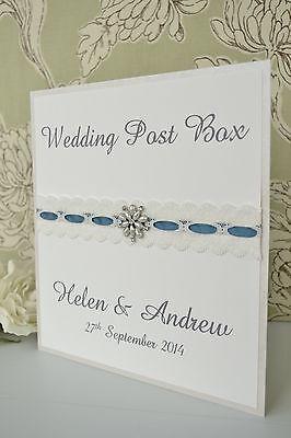 Wedding Post Box Sign. White, Ivory or Cream. Choice of ribbon colour & jewel.
