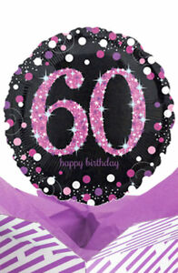Image Is Loading 60th Birthday Pink Amp Black Balloon In A