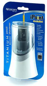 Westcott-iPoint-Evolution-Titanium-Bonded-Blades-Battery-Pencil-Sharpener-White