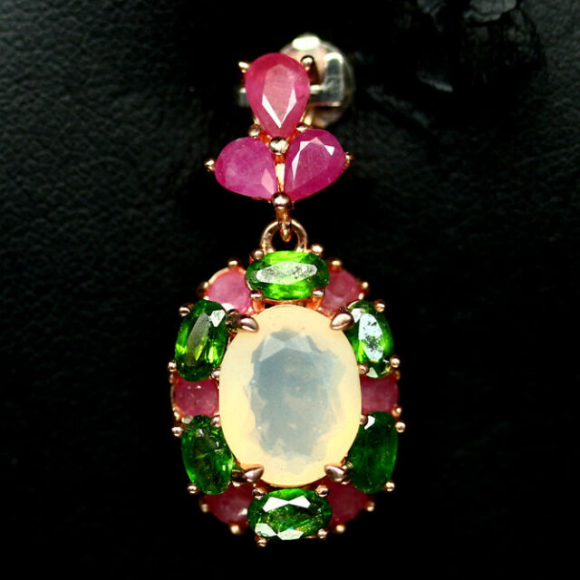 NATURAL WHITE OPAL RUBY & CHROME DIOPSIDE PENDANT 925 SILVER STERLING