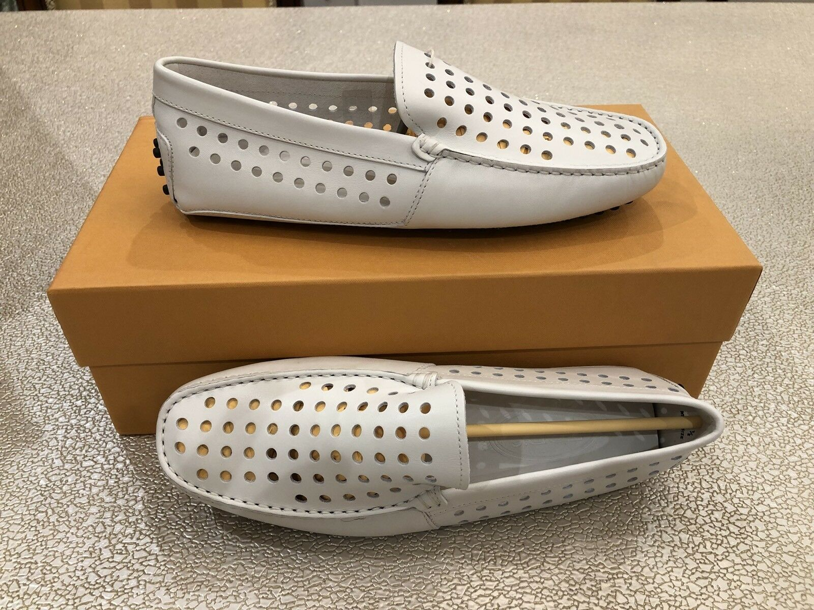 New Tods Mens White Pantofola Gomini Loafers  shoes Size US 6.5
