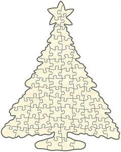 Puzzle en bois blanc, arbre de Noël, puzzle de l'avent, 72 pièces, 39x49 cm