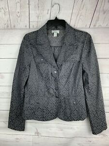 Ann-Taylor-Loft-print-Blazer-Jacket-Career-Gray-black-Button-Front-Sz-6