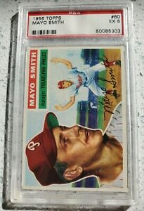 1956 TOPPS #60 MAYO SMITH PSA 5 GRADED EX looks better GRAY BACK PHILLIES TIGERS