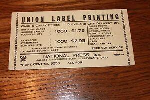 Vintage-Advertising-INK-BLOTTER-Union-Label-Printing-Cleveland-Ohio