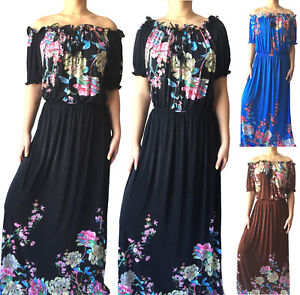 Plus-Size-Women-Long-Summer-Beach-Party-Hawaiian-Floral-Boho-Evening-Sundress