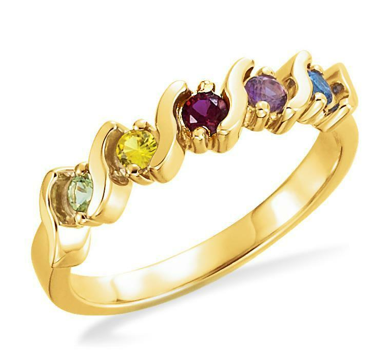 Mother's Ring 14K Yellow gold 5 Stone Family Birthstone Ring Made to Order