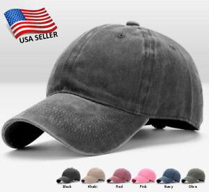 b461442da3733 Image is loading Cotton-Baseball-Cap-Adjustable-Hat-Washed-Style-Plain-