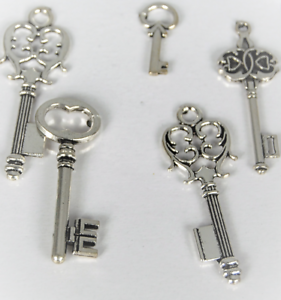 Ideal for Jewellery making or Crafting Craft Keys Set of 5 Silver Craft Keys