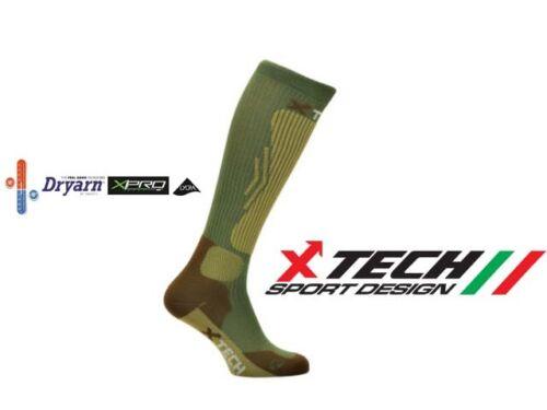 Calze termiche uomo tecniche xtech verdi da caccia sci escursioni invernali