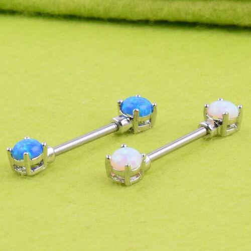 1Piece Fire Opal Stone Nipple Barbell Piercing Ring Nipple Shield Jewelry