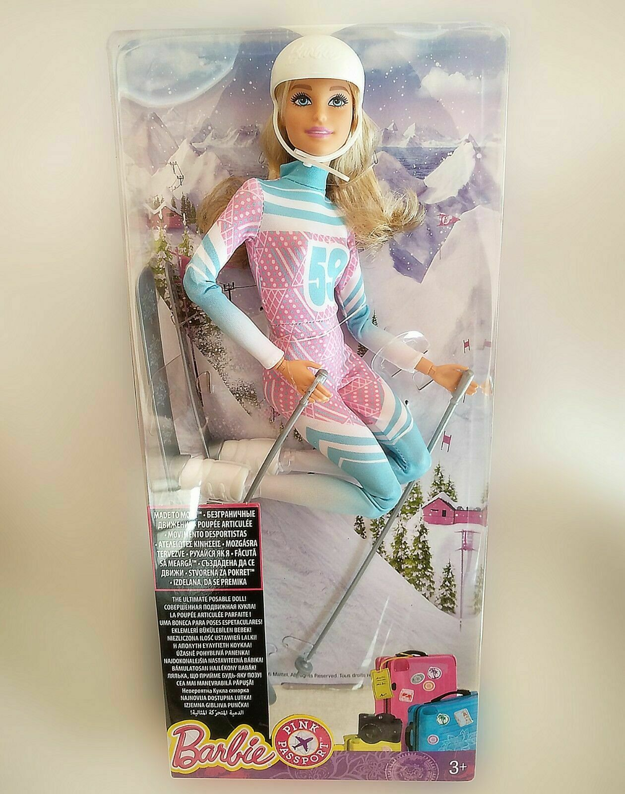 Barbie Skier Made to to to Move Doll Rosa Passport - Brand New 5f8729
