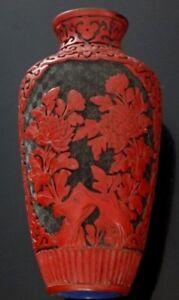 Sculpture-vase-cinabre-Chine-Fine-old-chinese-cinnabar-flowers