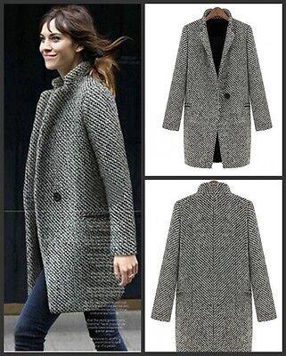 New Women Warm Wool Cashmere Long Winter Parka Coat Trench Outwear Jacket