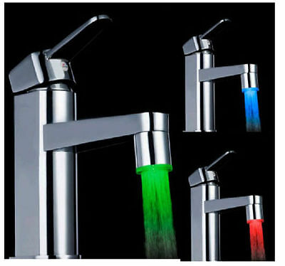 LED Water Faucet Stream Light 3 Colors Changing Glow Shower Tap Bathroom JUST