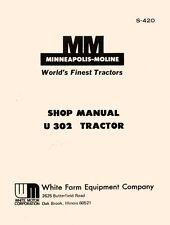 Minneapolis Moline U 302 U302 Tractor Dealer Maintenance Service Manual