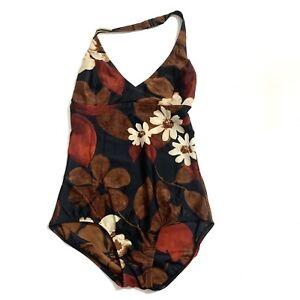 SPEEDO-Floral-Black-Brown-Halter-One-Piece-Swimsuit-Size-10
