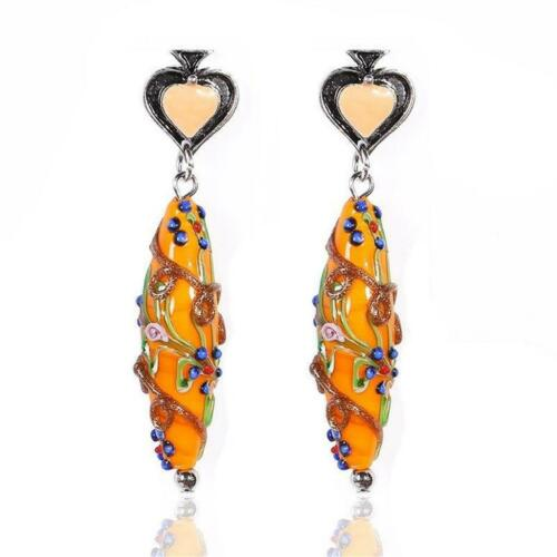 CG4637...HANDMADE ORANGE LAMPWORK GLASS EARRINGS FREE UK P/&P