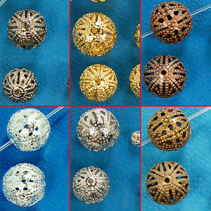 Carved-Patterned-Filigree-Hollow-Connector-Round-Spacer-Beads-4mm-6mm-8mm-10mm