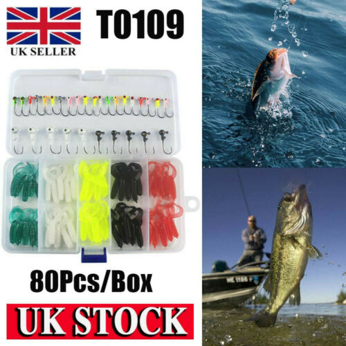 80Pcs Fishing Soft Bait Lures Set Grub Worm Baits Jig Heads Perch Tackle UK