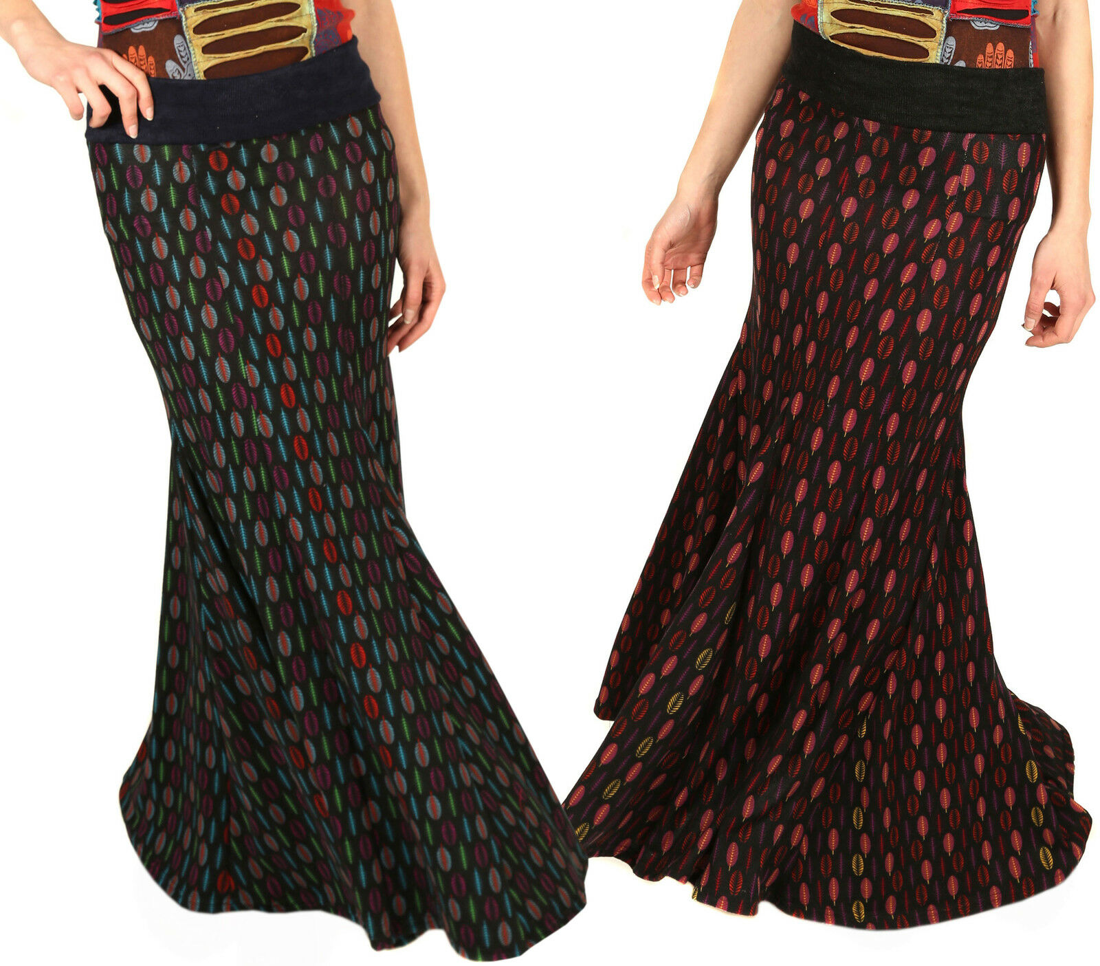 Winter Long Skirt Pleated Mermaid Maxi Hippie Bohemian Multicolord Nepalese