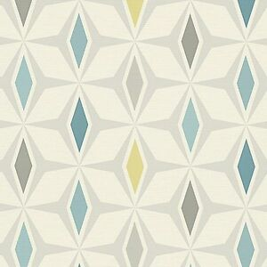 Around the World Teal Retro Wallpaper Diamond Design Paste the