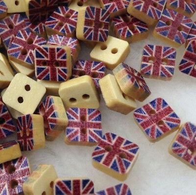 Mini England Flag Square Wooden Button British Flag Shirt Red Blue DIY 8mm 20pcs