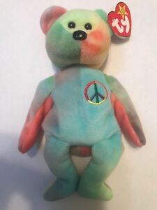 16b0318ef73 TY BEANIE BABY PEACE BEAR PASTEL AND EMBROIDERED EMBLEM RARE RETIRED ...