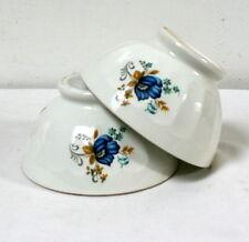 Deux bols à déjeuner vintage motif fleurs bleues