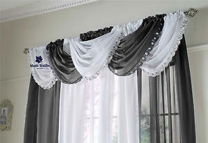READY MADE CRYSTAL SEQUIN JEWELLED GLITZY TRIM VOILE CURTAIN SWAG FREE P&P