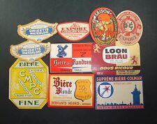 LOT 10 ETIQUETTES BIERE BOISSON ALCOOL ANCIENNES OLD BEER LABEL COW BOY FLANDRES