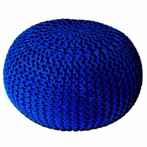 Blue tabouret en mailles avec repose-pieds Tissé Pouffe tressé factices Chaise Coussin Ottoman