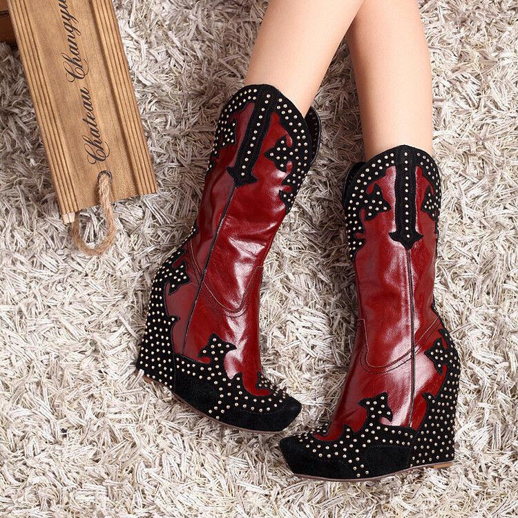 Punk Retro Platform Rivet Stud Wedge Heel Cowboy Street Mid Calf Boots  Womens @