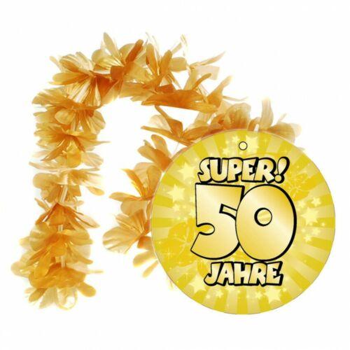 """Hawaii Kette /""""50/"""" Gold Geburtstag Dekoration Party Geschenk Halskette"""