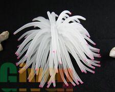 Aquarium Fish Tank Silicone Sea Anemone Artificial Coral Ornament RT172L white
