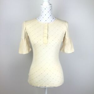 SCANLAN-amp-THEODORE-Top-Knit-Size-M-Sz-L-Ivory-Wool-Dressy-Stretch-Bell-Sleeve