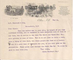 1905 Elkin Hardware Co. Elkin N.C. Illustrated Letterhead