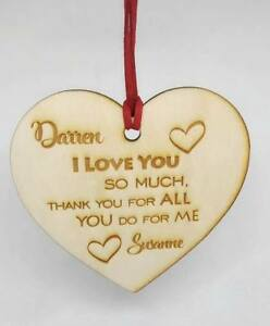 Wooden-Personalised-Heart-Engraved-Valentine-039-s-Day-Gift