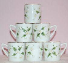 Lefton China Vintage Cute Daisies Floral Demi Tasse Espresso Cups Set of 6 RARE