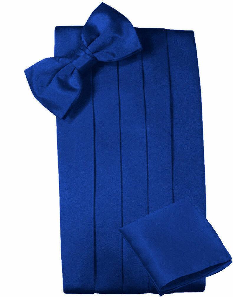 New Royal Blue Cummerbund with Bow Tie & Pocket Square Formal Groom Wedding Prom