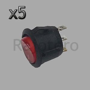 5X-Interruptor-Basculante-Redondo-Rojo-iluminado-3-polos-con-luz-220V