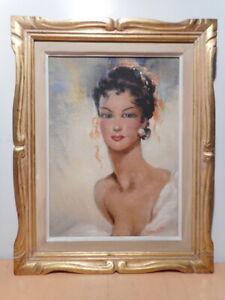 Tableau-peinture-portrait-jeune-femme-Cesar-VILOL-VILOT-gout-style-Domergue